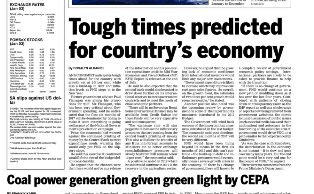 Post Courier 5 Jan 2017 detail Tough times predicted