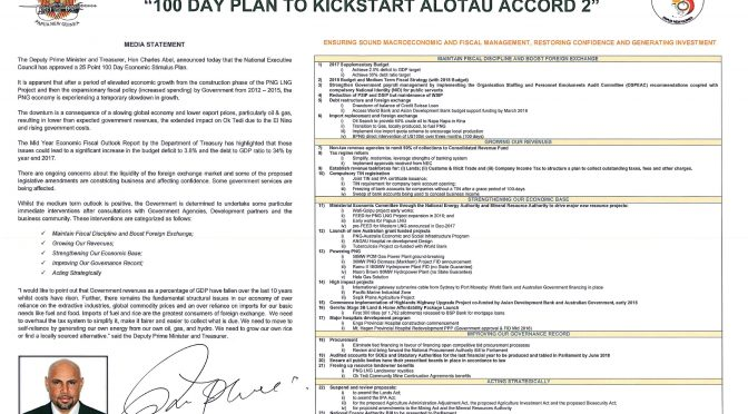 PNG's 100 Day Plan – A Slow Kickstart with some positives